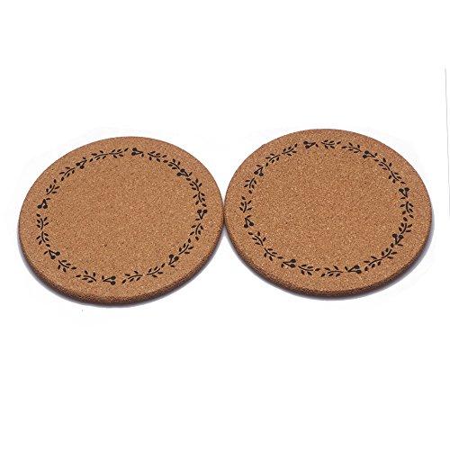 2 Pcs Big Size European Retro Cork Coaster Pot Mat Bowl Mat Insulation Mat Set Of 2 (As Picture, 2)