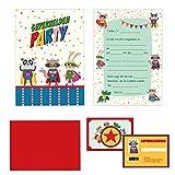 24-teiliges Einladungskarten Set Kindergeburtstag -'Superhelden' inkl. Geburtstagspässe und farbige...