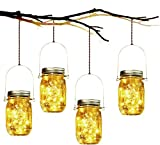 Derlin 3Pack Solar Mason Jar Lights, LED Solar Lantern, Outdoor Glass Hanging String Lamp, Fairy Decoration for Garden Patio Yard Home Party (3Pack Warmwhite)