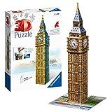 Ravensburger- Big Ben 3D Puzzle, 216pc, Color marrón, Amarillo, Gris, 27.2 x 19.3 x 6.9 (646607)