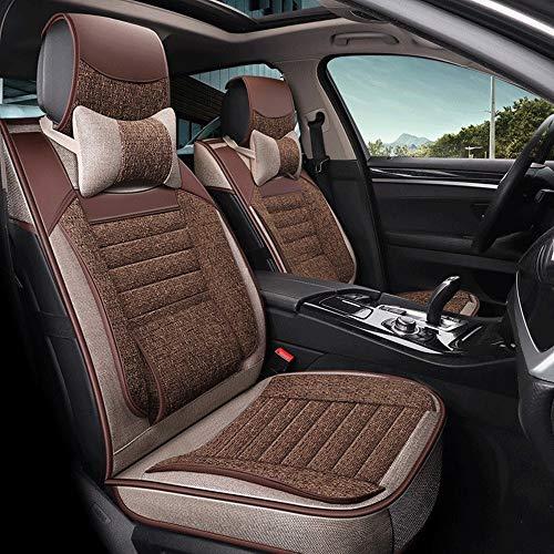 Cubierta de asiento de coche, delantero y trasero de algodón y lino Confort Pads de protección, de 5 plazas conjunto completo de bolsas de aire universal compatible apto for coches de 5 plazas 716