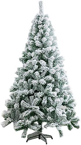 YUXO Zippered Christmas Trees Snow Flocked Foldable Artificial Christmas Pine Tree, Eco-Friendly Christmas Pine Tree Easy Assembly (Size : 150cm/5ft)