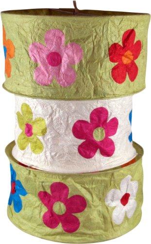 Guru-Shop Ronde Papieren Hanglamp, Lokta Papieren Lampenkap Lhasa, Handgeschept Papier - Groen, Lokta-papier, 42x28x28 cm, Aziatische Plafondlampen Papieren Lampen Stof
