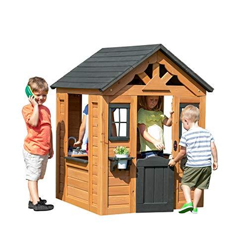 Backyard Discovery Spielhaus Sweetwater aus Holz | Outdoor Kinderspielhaus für den Garten inklusive Zubehör | Gartenhaus für Kinder mit Fenstern in Braun & Schwarz