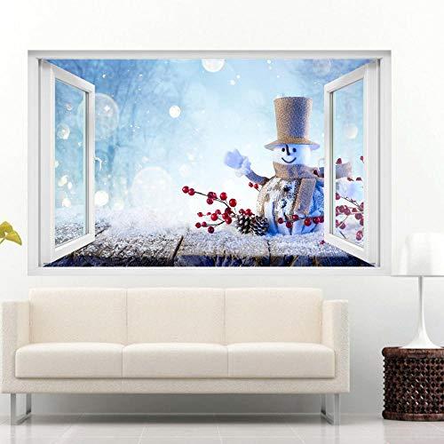 Yxsnow 3D Pegatinas de pared Invierno Navidad Snow Muñeco de nieve de Navidad Extraíble Agujero en la pared Vinilo Decorativo Pegatinas Vista de Efecto Adhesivos De Pared