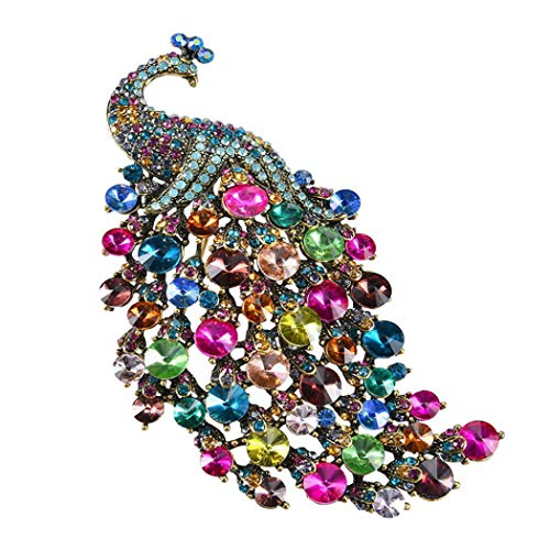 Premewish Brooch, Multiple Color Peacock Brooch for Women, Wedding Dress Scarf Hat Accessories