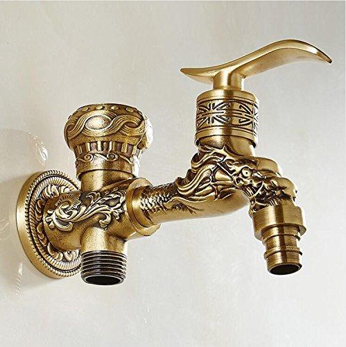 Mkkwp Funciones Dobles Grifos De Lavadora Grifería De Doble Manivela Grifo De Agua Grifería Artística Empotrada En La Pared Agua Fría