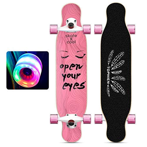 Vierrädrigen Anfänger Skateboard Longboard mit Leucht-Wheels Adult Professionelle Medium Tanzkollegs Doppel verzogen Brett Teens Standard-Holz-Surfbrett Studenten Jungen und Mädchen ( Color : A )