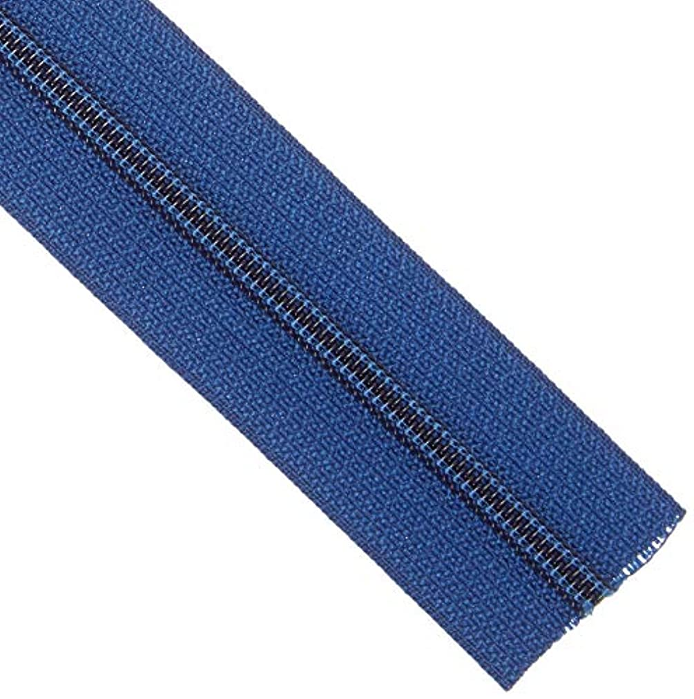 Decorating Diva 3 Yards of Reversible Coil Zipper Tape with 8 Slides Navy, 3 yd,