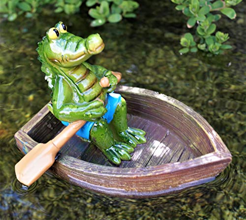 Rostalgie Krokodil Karli im Boot mit Paddel Gartenteich Schwimmfigur Dekoration