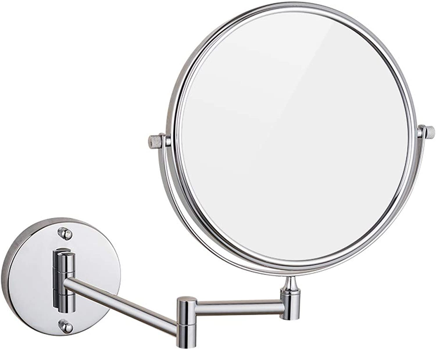 HELIn Bathroom Shaving Mirror 3X Magnification + Normal Double-Sided Round Wall Mounted Vanity Mirror Swivel, Extendable and Chrome Finished (Size   20cm)