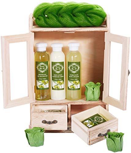 BRUBAKER Cosmetics Bade- und Pflegeset Olive im Holzschrank