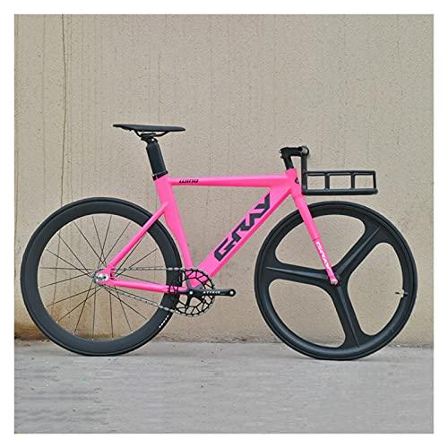 Story Bicicleta de Engranajes fijos 48 cm 52 cm 55 cm Bicicleta de Aluminio de Aluminio de una Sola Velocidad de Aluminio Bicicleta 700C 3/4 radios RAPA DE RACIDO V Freno (Color : Pink, Size : 1)
