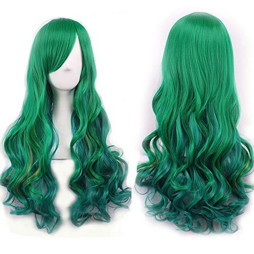 Naturel Postiche Femme dégradé Vert Perruque de cheveux longs bouclés Fluffy pour cosplay Party–M187Geshiglobal