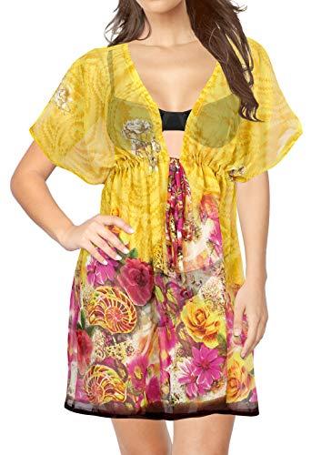 LA LEELA Damen Badeslip Cover Up Transparente Strandkleid Bademode Vertuschen Kurzarm Urlaub Sommerkleid Gelb_Y439 L-XXL