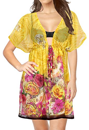 LA LEELA Traje de baño Cubre Sube Kimono de Las Mujeres de Playa Amarillo_Y439 ES TAMAÑO: 42 (L) - 50 (2XL)
