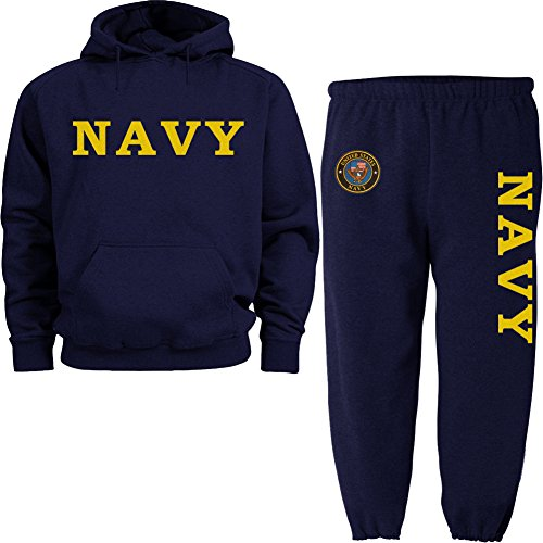Decked Out Duds Yellow US Navy Navy Blue Hoodie Sweatsuit Medium