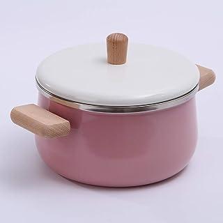 XH&XH Enameled Cast Iron Casserole Japanese Macaron Color Milk Pot Modern Non-Stick Soup Pot with Wood Handle Open Fire Ga...