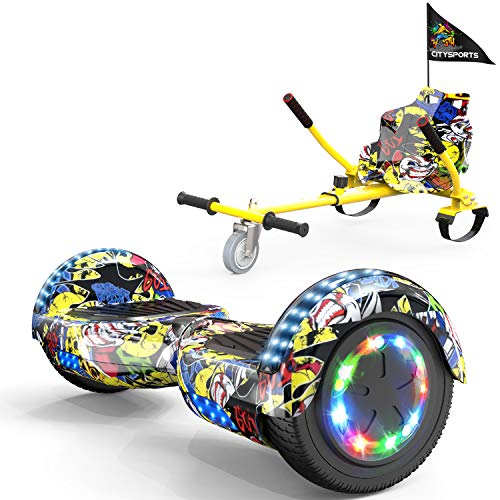 COLORWAY Hoverboard Hover Scooter Board 6,5' con Asiento Kart con Ruedas de Flash LED, Patinete Eléctrico Altavoz Bluetooth y LED, Autoequilibrio de Scooter Eléctrico (Hip-Hip)