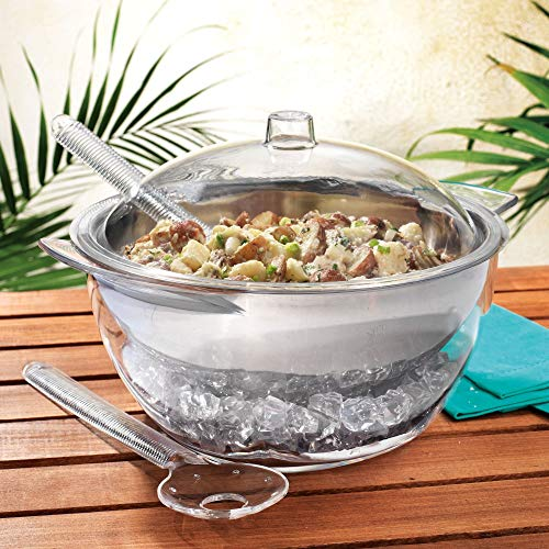Home Essentials 5 PC Jumbo Stainless Steel Salad Bowl Set with Ice Chiller Base and Acrylic Dome Lid.
