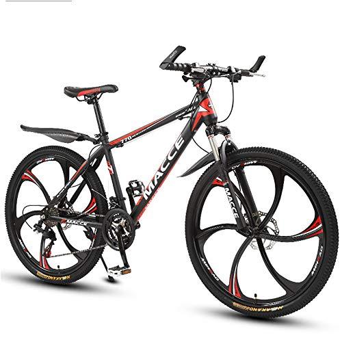 26 Zoll Mountainbike, Scheibenbremsen Hardtail MTB, Trekkingrad Herren Bike Mädchen-Fahrrad, Vollfederung Mountain Bike, 27 Speed,Rot,six cutter wheel