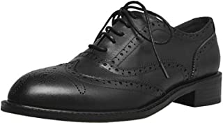 FGSJEJ Vintage Casual Shoes Women's Brock Carved Small Shoes Thick with Brown Shoes Leather Oxford Shoes