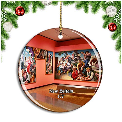 Weekino New Britain Museum Connecticut USA Christmas Ornament Xmas Tree Decoration Hanging Pendant Travel Souvenir Collection Double Sided Porcelain 2.85 Inch