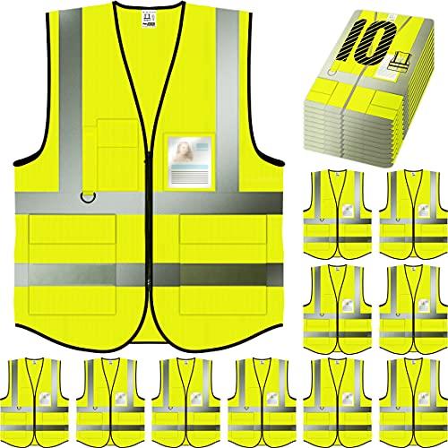 PeerBasics Safety Vest 10 Pack, Yellow, ANSI Class 2 (Medium)