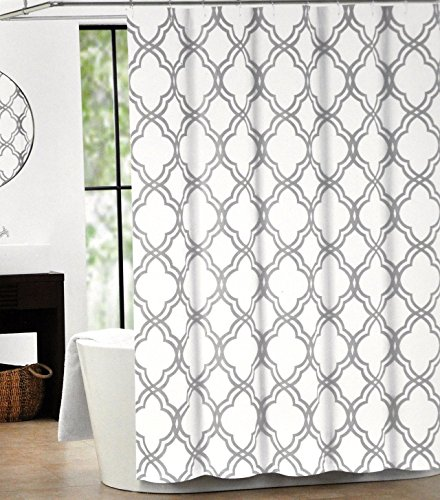 Crystal Emotion Max Studio Home Cotton Shower Curtain Moroccan Tile Quatrefoil Gray and White Lattice 72x72inch