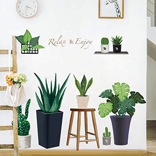 Taoyue Wandsticker met groene plant, kleine versheidsstickers, zelfklevend behang, slaapkamer, nachtkastje, sofa, achtergrond, wanddecoratie, kamerdecoratie