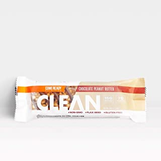 Ready Nutrition CLEAN Bar, 15g Protein for Lean Muscle Mass, 7g Fiber for Satiety, Great for Muscle Building, Muscle Recovery and Weight Loss - Chocolate Peanut Butter (52g, Pack of 12)