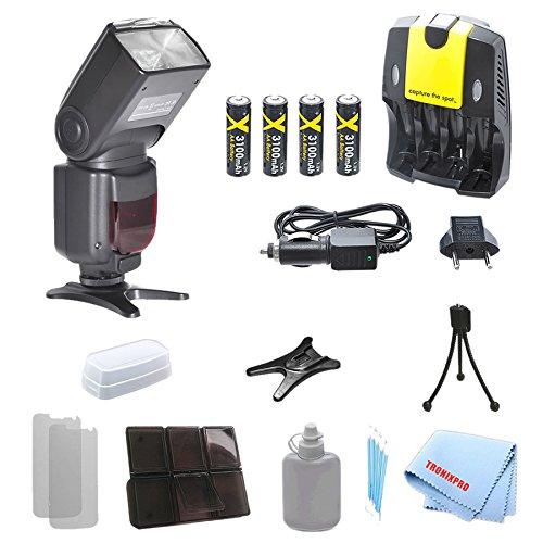 Professional TTL Swivel Flash + 4 Rechargeable AA Batteries + Home / Car Charger For Nikon D5000, D5100, D5200, D5300, D5500, D40, D40X, D50, D70, D70S, D80, Df, D7000 and More Models, with a Complete Starter Kit