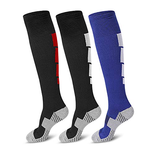 3 Pairs Soccer Socks, Sport Knee High Socks Over The Calf Compression Athletic Socks for Mens and Women Running & Training Football Thickening Keep Warm Sock