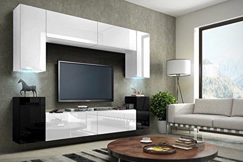 FUTURE 1 Moderne Wohnwand, TV-Schrank, Schrankwand, TV-Element Anbauwand, Neue Garnitur, Große Farbauswahl (RGB LED-Beleuchtung Verfügbar) (Weiß&Schwarz MAT base / Weiß&Schwarz HG front, RGB Led)