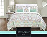 Cynthia Rowley Full Queen Duvet Cover Set Large Floral Paisley Medallion Turquoise Pink Navy Coral Green (Queen)