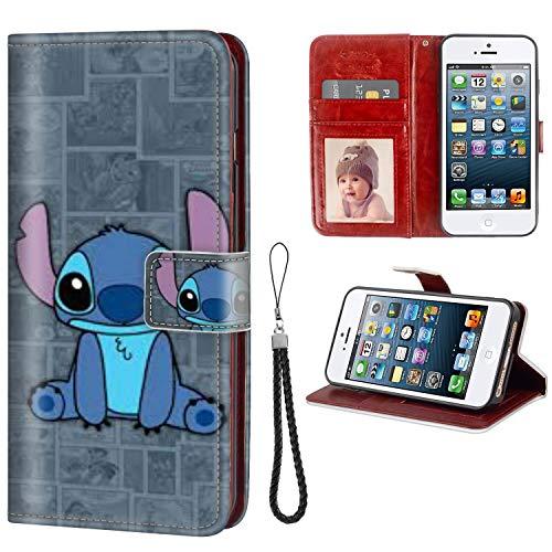 DISNEY COLLECTION iPhone 5C Wallet Phone Case Leather Cash Card Case Stitch Cute Wallpaper Folio