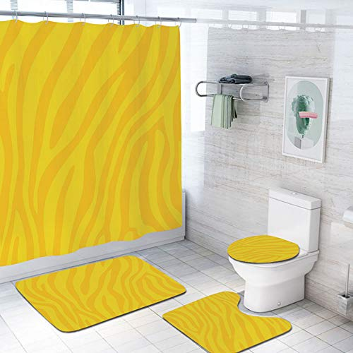 Zebra Print 69x70 inch Shower Curtain Sets,Zebra Skin Wild Animal Print Pattern with Vivid Colors Artwork Print Decorative Toilet Pad Cover Bath Mat Shower Curtain Set 4 pcs Set,Yellow and Mustard