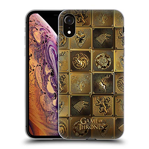 Head Case Designs Officially Licensed HBO Game of Thrones All Houses Golden Sigils Soft Gel Case Compatible with Apple iPhone XR