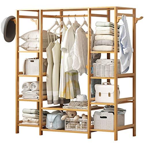Zunruishop Armario portátil Percha de bambú Minimalista Moderna Perchero de Ropa portátil Perchero Caja de Almacenamiento for Entrada y diseño de Cama Ropero Combinado