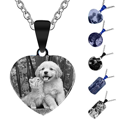 Aludai Llavero Personalizado Grabado Colgante de Collar de Acero Inoxidable con Colgante de Regalo Personalizado (Corazón, Negro)
