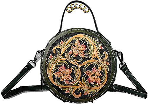 ANZRY Vintage Hand Carved Leather Ladies Handbags Round Shoulder Bags Floral Cross Body Bags Lightweight Mini Casual Bags,Green