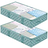 Large Underbed Storage Bags Organizer Containers- 2 Pack, Foldable Comforters Clothes Blankets Storage Bags with Clear Plastic Lids, 2 Zippers and 4 Handles (Blue with Lantern Pattern)
