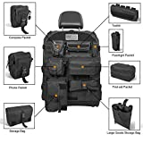 Opall Universal Front Seat Cover with Storage Bags Multi-Compartments Holder Pockets Molle Pouches Stuff Organizer for Jeep Wrangler JK JL Ford Jeep Cherokee (Black)