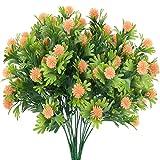 HUAESIN 3pcs Arbusto Artificial Exterior, Plantas Verdes Artificiales con Flores Plastico Rosa Resistentes a Rayos UV Fores Artificiales Decoracion Jarrones para Interior Valla Cocina Hogar Jardinera