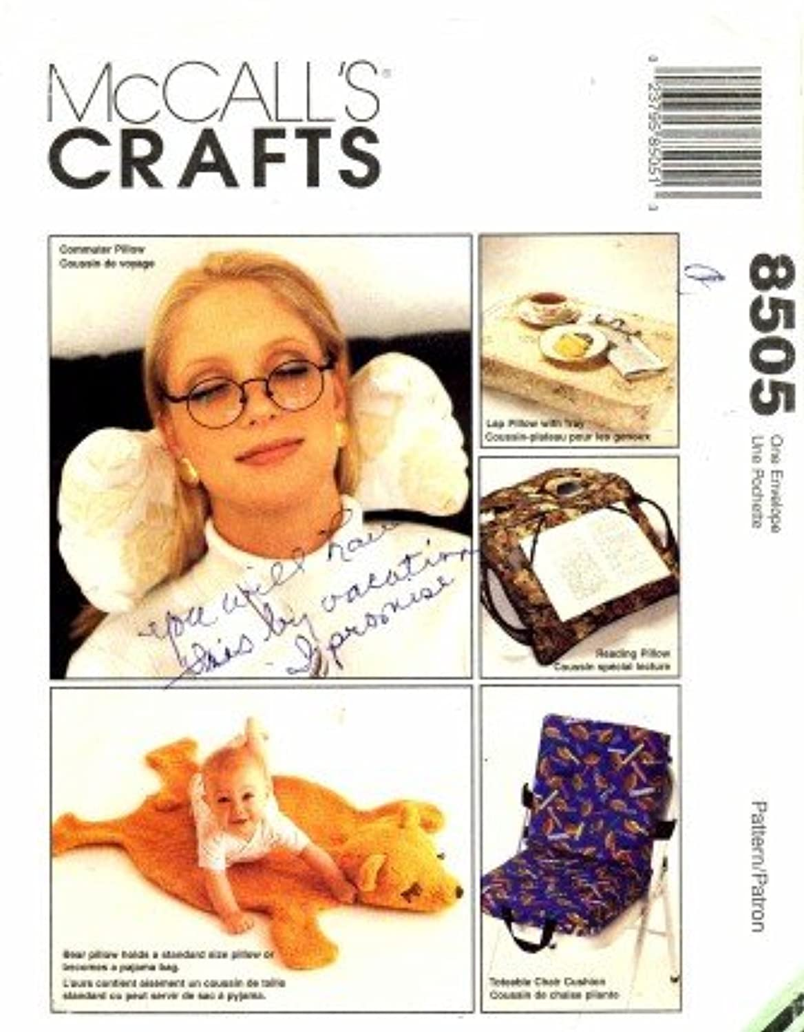 McCall's 8505 Sewing Pattern Novelty Pillows Bear Pajama Bag Book Lap Commuter Toteable Chair
