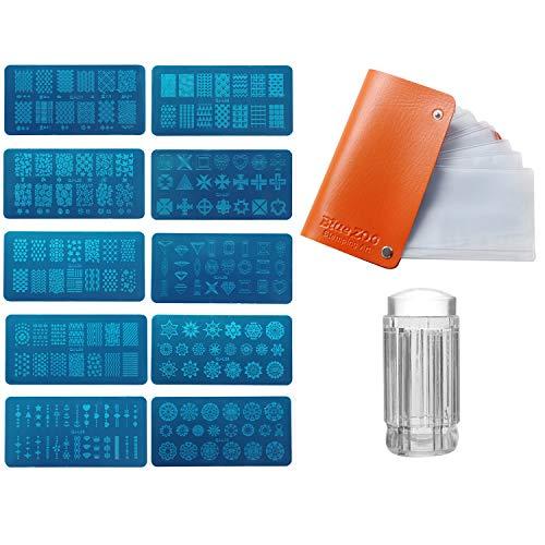 Vococal-10 UNIDS Nail Art Stamping Plate Kit de Plantillas con Sello Scraper...