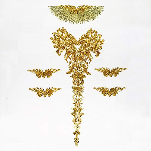 3d Lace Applique sequin Patches applique motifs sequin french diamante beaded applique trim Great for DIY Craft Sewing Costume dressmaking Bridal wedding 6 in 1 100cm*72cm A16 (Gold)