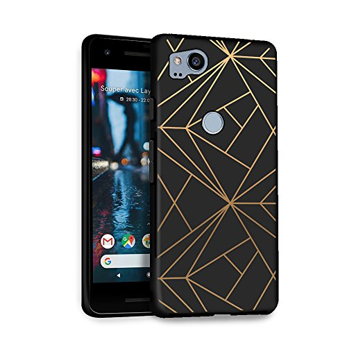 HelloGiftify OnePlus 6 Case, Geometric Gold TPU Black Soft Gel Protective Case for OnePlus 6