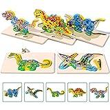 Rolimate Rompecabezas de Madera para niños, Rompecabezas de Dinosaurios en 3D Colores y Formas...