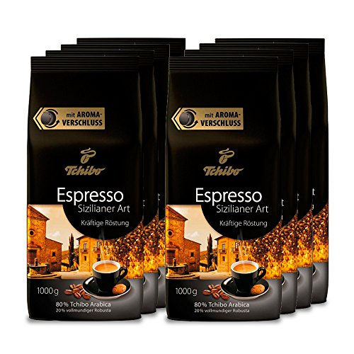 Tchibo Espresso Sizilianer Art ganze Bohne, 8 kg (8 x 1 kg)